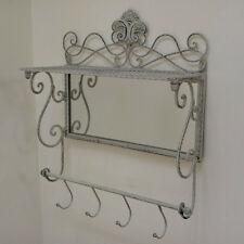 Coat Hooks Metal Shabby Chic Style with Mirror & Storage Shelf Towel Rail 4 Hook