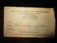 Vintage antique 1935 Staten Island Hospital Visitor's card New York NY NYC