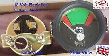 Vintage GEEP CAR Tractor GAUGE Clock 12V BATTERY VOLTAGEMETER BLACK DIAL-M617A