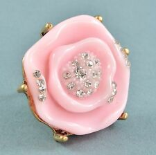 Large Vintage Style Ring Pink Resin Flower & Clear Crystal Goldtone