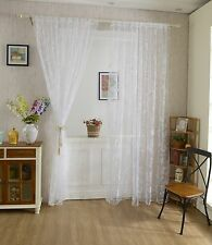 Flocking Butterfly Sheer Curtain Window Balcony Tulle Valance Drape White