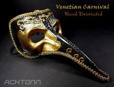 Adult Venetian Hand painted Masquerade Raven Carnival Costume Mask