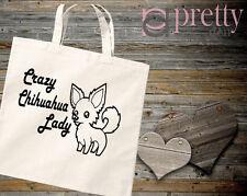 CRAZY CHIHUAHUA LADY NATURAL TOTE BAG CANVAS GIFT KEEPSAKE NOVELTY JOKE DOG