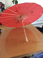 Asian Japanese Chinese Large Umbrella Parasol Sun Red  Hand Made & Painted 32""