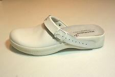 White Leather Clog Shoes Closed Toe Hospital Pro Comfort UK Size 8 #W2