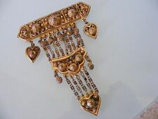 1940 RICE WEINER ETRUSCEANA Chatelaine Gold Plate Etruscan Revival Runway Brooch