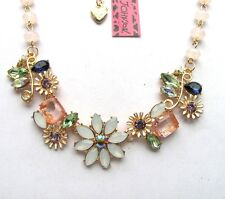 Betsey Johnson Brilliant crystal Fresh Small flowers Gather Pretty Necklace#183L