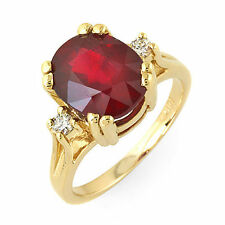 4.6 ct natural ruby and diamond Ring in 14k solid gold