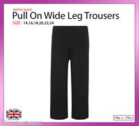 New Ladies Women Pull On Plain Black Wide Leg Trousers Plus Sizes 14-24 Summer