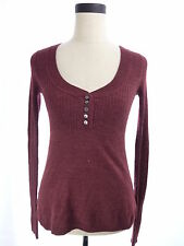 Womens Aeropostale Burgundy Red V Neck Sweater Size Small