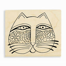 LAUREL BURCH Cat Feline Face Wood Mounted Rubber Stamp Stampendous LBV001 NEW
