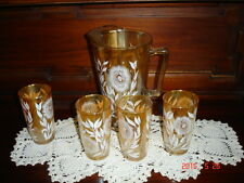 5 Piece Jeannette Cosmos Marigold Carnival Glass Beverage Set Pitcher Tumblers