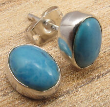 SIMPLE STUD Everyday Wear Earrings FOR GIRL, LARIMAR Silver Plated 1/2 Inches