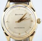 Vintage 14k Yellow Gold Men's Bulova Self-Winding Watch w/ Brown Leather Strap
