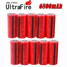 10 x UltraFire 3.7V 6800mAh Rechargeable 26650 Li-ion Battery For Flashlight USA