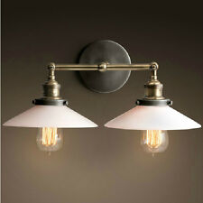 WALL LAMP COUNTRY VINTAGE INDUSTRIAL LOFT  SCONCE DUAL SHADE WALL LIGHT WHITE