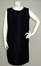 JIL SANDER Blue Cashmere Knit Vest Silk Front Sleeveless Knee Length Dress 40 12
