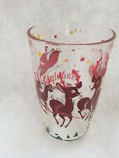 """Rare Vintage """"Rudolph The Red-Nosed Reindeer"""" Glass / Tumbler - CHRISTMAS"""
