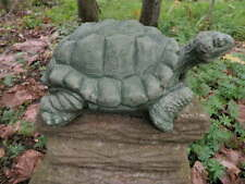 "Large 11.5"" Cement Snapping Turtle Garden Art Green Concrete Statue  Realistic"