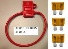 (3) 10 GAUGE ATC FUSE HOLDER With COVER + (3) 40 AMP FUSES IN-LINE 10 GA. USA