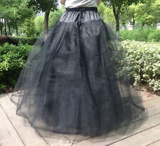 plus size Gotik Black 8 Layer Hoopless Wedding Crinoline Bridal Full Petticoat