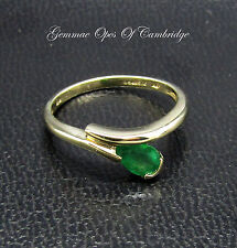 Dainty 9ct Gold Teardrop Crossover Emerald Ring Size K 1/2 1.5g