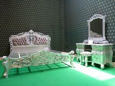 UK STOCK Silver Double or King Size  French mahogany Rococo Bed set with dresser