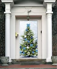 Christmas Front Door Cover Entry Doors Banner New Year Decor Outside Home ON22