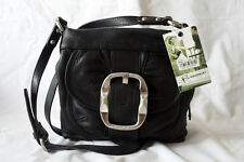 B Makowsky Black Leather Maui Crossbody Organizer Travel Bag Purse Genuine NWT *