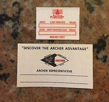 Archer Oil/Gas Change Sticker And Salesman Card