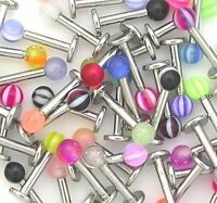 20x Stainless Steel Ball Top Lip Studs Tragus Ear Monroe Bars Labret UK SALE