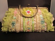 Antique Victorian Green Lace & Sequined Handbag Purse Metal Handles and Strap
