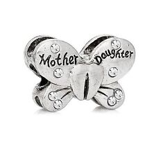 Silver Clear Mother Daughter Butterfly Charms Bead For Charm Bracelets Gift Mum