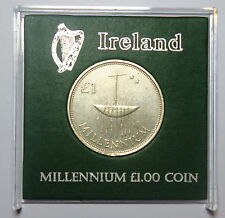 IRELAND:   MILLENNIUM ONE POUND COIN IN DISPLAY CASE. YEAR 2000. FREE SHIPPING