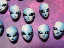 New 10 Polymer Clay Fimo Alien Face ET X-Files Star Trek Beads