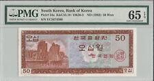 Korea 1962, P#34a 50 Won (From England Thomas De La Rue Co) PMG 65EPQ