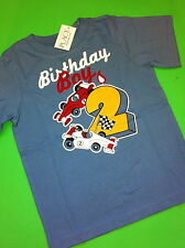 ~NEW~ 2nd Birthday 2 Years Baby Boys Graphic Shirt 2T Gift Blue SS Race Cars