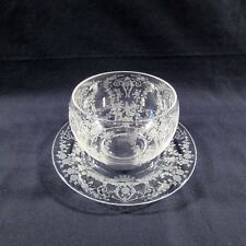 Vintage Cambridge Diane 3122 Floral Etched Mayonnaise Bowl & Underplate AMAZING