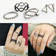 Hot Punk Fashion Women Black Silver Above Band Midi Knuckle Ring Rings 4Pcs/Set