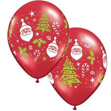 "10 x Santa & Christmas Tree 11"" Qualatex Christmas Balloons"