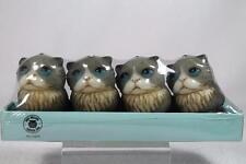 Harmony Ball Pot Bellys Shape 'Grey Kitten Tea Light Candles' Set 4 #CTKI NIB