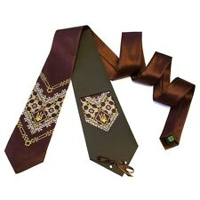 Ukrainian Ukraine Neck Tie Embroidered Tryzub Vyshyvanka Brown Color