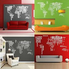 Removable Vinyl WHITE Decal Geographical letter World Map Wall Sticker