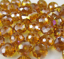 New 30pcs Faceted  Rondelle glass crystal #5040 6x8mm Beads Amber AB colors PEA1