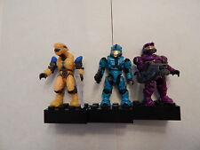 Halo Mega Bloks Figure Set: Yellow Elite Pilot & Cyan Spartan & Purple Spartan