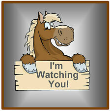 FUNNY BROWN HORSE- FUN CAR / WINDOW STICKER + 1 FREE -  BRAND NEW - GIFT