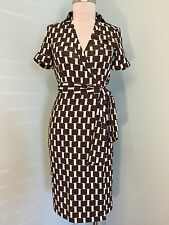 dvf diane von furstenberg 100% Silk Jersey Brown Ivory Wrap Dress 0 XS Career