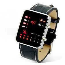 Fashion Women Mens Digital Red LED Sport Wrist Watch Leather Binary Wristwatch