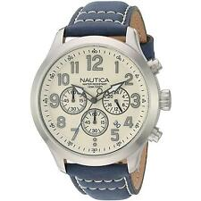 NAUTICA MEN'S 45MM BLUE CALFSKIN BAND STEEL CASE QUARTZ ANALOG WATCH NAD14530G