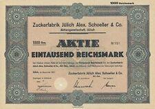 Zuckerfabrik Jülich Schoeller & Co. alte Aktie 1937 Pfeifer & Langen Westzucker